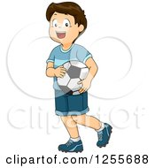 Clipart Of A Happy Brunette White Boy Carrying A Soccer Ball Royalty Free Vector Illustration by BNP Design Studio
