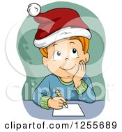 Clipart Of A Red Haired White Boy Thinking About His Christmas List Royalty Free Vector Illustration