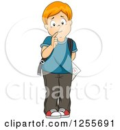 Clipart Of A Worried School Boy Hiding A Test Behind His Back Royalty Free Vector Illustration