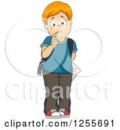 Worried School Boy Hiding A Test Behind His Back