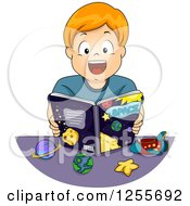 Clipart Of An Excited White Boy Reading An Astronomy Book Royalty Free Vector Illustration