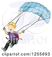 Clipart Of A Blond White Boy Parachuting Royalty Free Vector Illustration