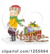 Clipart Of A Blond White Boy Pulling Christmas Gifts On A Sled Royalty Free Vector Illustration by BNP Design Studio