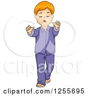 Clipart Of A Red Haired White Boy Sleep Walking Royalty Free Vector Illustration by BNP Design Studio