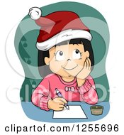 Clipart Of A Thinking Girl Wearing A Santa Hat And Writing A Christmas List Royalty Free Vector Illustration