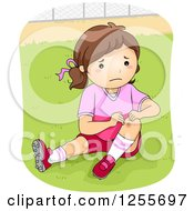 Clipart Of A Football Player Girl Showing A Scraped Knee Royalty Free Vector Illustration by BNP Design Studio