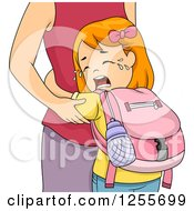 Red Haired White School Girl Crying And Hugging Her Mom
