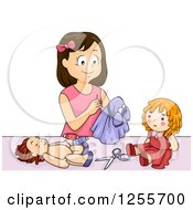 Clipart Of A Brunette White Girl Making Clothes For Her Dolls Royalty Free Vector Illustration