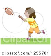 Clipart Of A Sporty Black Girl Catching An American Football Royalty Free Vector Illustration by BNP Design Studio