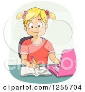 Clipart Of A Blond White School Girl Studying With A Pink Laptop Royalty Free Vector Illustration