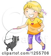 Clipart Of A Happy Blond White Girl Playing With Her Cat And Toy Royalty Free Vector Illustration
