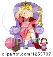 Clipart Of A Blond White Girl Sitting On A Toy Princess Throne Royalty Free Vector Illustration by BNP Design Studio