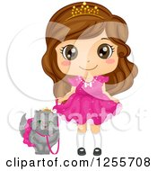 Clipart Of A Cute Brunette White Girl Princess Walking Her Spoiled Persian Cat Royalty Free Vector Illustration by BNP Design Studio