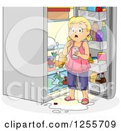 Clipart Of A Blond White Gural Caught Making A Mess In A Refrigerator Royalty Free Vector Illustration