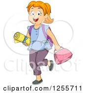 Red Haired White School Girl With Sewing Class Materials