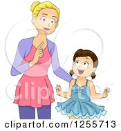 Clipart Of A Brunette White Girl Looking Up To Her Ballet Instructor Royalty Free Vector Illustration