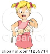 Clipart Of A Blond White Girl Proudly Putting On A Bra Royalty Free Vector Illustration by BNP Design Studio