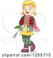 Clipart Of A Happy Blond White Girl Holding Christmas Poinsettias Royalty Free Vector Illustration by BNP Design Studio