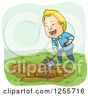 Clipart Of A Blond White Man Shoveling Scraps Into A Compost Pit Royalty Free Vector Illustration