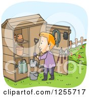 Clipart Of A Red Haired White Man At A Garden Tool Shed Royalty Free Vector Illustration