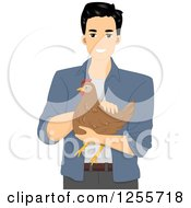 Clipart Of A Happy Black Haired Man Holding A Hen Royalty Free Vector Illustration