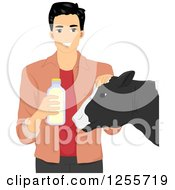 Clipart Of A Happy Black Haired Man Holding A Bottle Of Milk And Petting A Cow Royalty Free Vector Illustration by BNP Design Studio