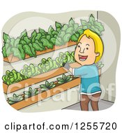 Clipart Of A Blond White Man Vertical Gardening Royalty Free Vector Illustration