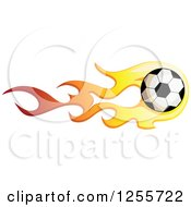 Clipart Of A Soccer Ball With Red And Yellow Flames Royalty Free Vector Illustration by BNP Design Studio