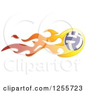 Clipart Of A Volleyball With Flames Royalty Free Vector Illustration by BNP Design Studio