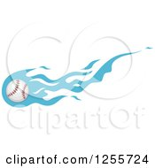 Clipart Of A Baseball With Blue Flames Royalty Free Vector Illustration by BNP Design Studio