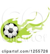 Clipart Of A Soccer Ball With Green Flames Royalty Free Vector Illustration by BNP Design Studio
