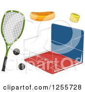 Clipart Of A Squash Court And Accessories Royalty Free Vector Illustration