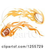 Clipart Of A Flaming Rugby And American Football Royalty Free Vector Illustration by BNP Design Studio