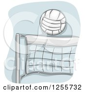 Clipart Of A Sketched Volleball Over A Net Royalty Free Vector Illustration