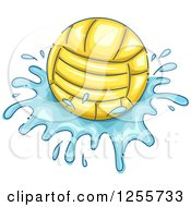 Clipart Of A Water Polo Ball And Splash Royalty Free Vector Illustration