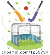 Clipart Of A Field Hockey Goal Ball And Sticks Royalty Free Vector Illustration by BNP Design Studio