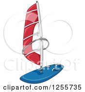 Clipart Of A Sailboard With A Red Sail Royalty Free Vector Illustration