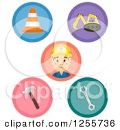 Clipart Of Round Construction Icons Royalty Free Vector Illustration by BNP Design Studio