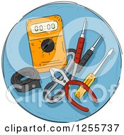 Clipart Of A Round Blue Electric Tools Icon Royalty Free Vector Illustration