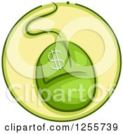 Clipart Of A Round Green Computer Mouse Dollar Icon Royalty Free Vector Illustration