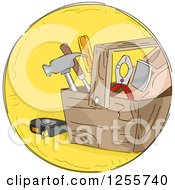 Clipart Of A Round Yellow Tools Icon Royalty Free Vector Illustration by BNP Design Studio