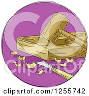 Clipart Of A Round Purple Woodworking Icon Royalty Free Vector Illustration