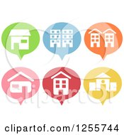 Clipart Of Colorful Pin Shaped Building Icons Royalty Free Vector Illustration by BNP Design Studio