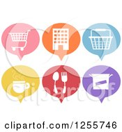 Clipart Of Colorful Speech Baloon Shaped Shopping And Dining Icons Royalty Free Vector Illustration by BNP Design Studio