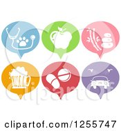 Clipart Of Colorful Speech Baloon Shaped Health Icons Royalty Free Vector Illustration