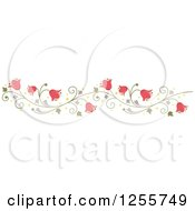 Clipart Of A Pink Bell Flower And Vine Border Royalty Free Vector Illustration