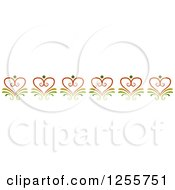 Clipart Of A Floral Heart Swirl Border Royalty Free Vector Illustration