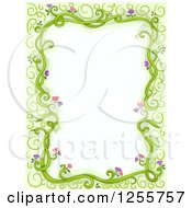 Clipart Of A Border Of Floral Vines And Green Royalty Free Vector Illustration by BNP Design Studio