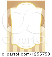 Clipart Of A Vintage Frame Over Tan And Brown Stripes Royalty Free Vector Illustration