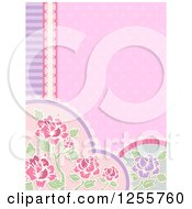 Clipart Of A Shabby Chic Background With Floral Borders Royalty Free Vector Illustration